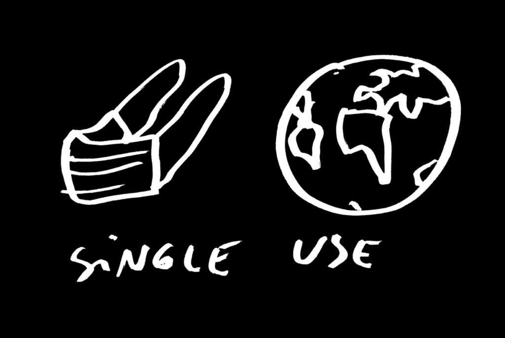 Dan Perjovschi, single use, 2020-2021, Zeichnung auf Papier, Maße variabel, aus: Virus Diary Series, © Dan Perjovschi